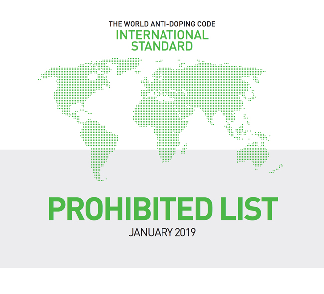 World Anti-Doping List 2019 comes into force on January 1st