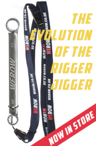 The WEROW rigger jigger is a stainless steel closed ended 10x13mm spanner for rowers, seen here with included lanyard