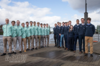 The Oxford and Cambridge lightweight mens crews at the Boat Race challenge