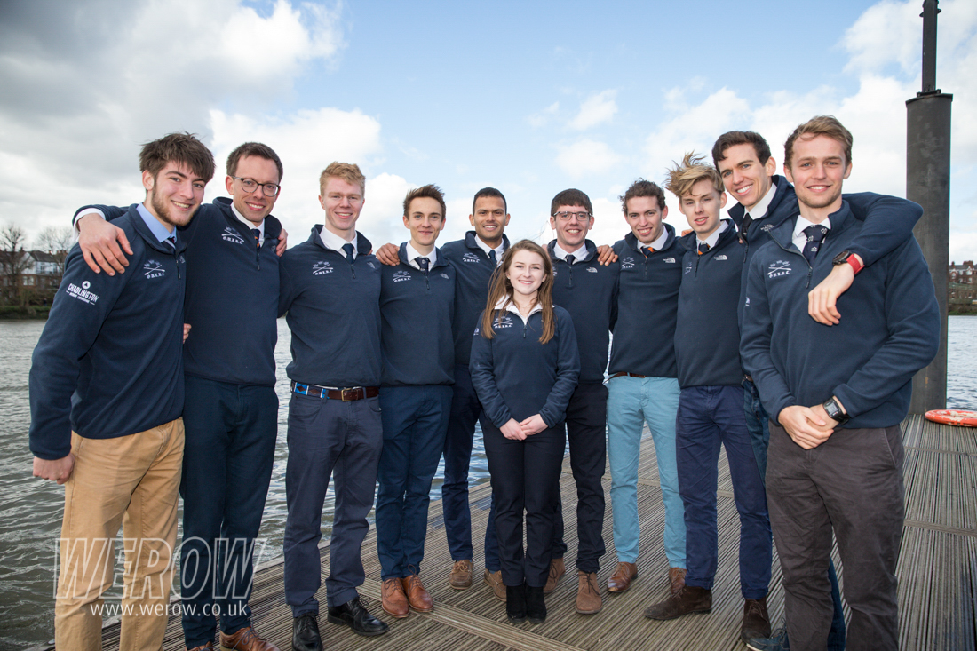 The Oxford University Lightweight Rowing Club crew 2019 at Fulham Reach Boat Club for the Boat Race Challenge