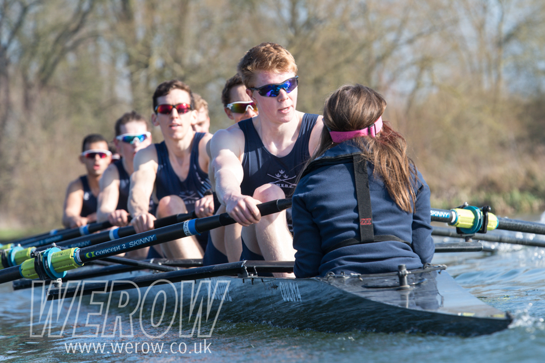 The Oxford University Lightweight Rowing Club crew 2019 rowing on home waters in Wallingford, Oxfordshire