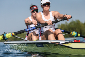 Holly Norton and Karen Bennett on the start at GB Rowing Trials