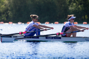 GB Team rowers Maddie Arlett and Emily Craig in the double scull at Caversham
