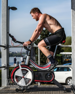 Olympic rower Will Satch recovers on the WattBike at Caversham during April Trials