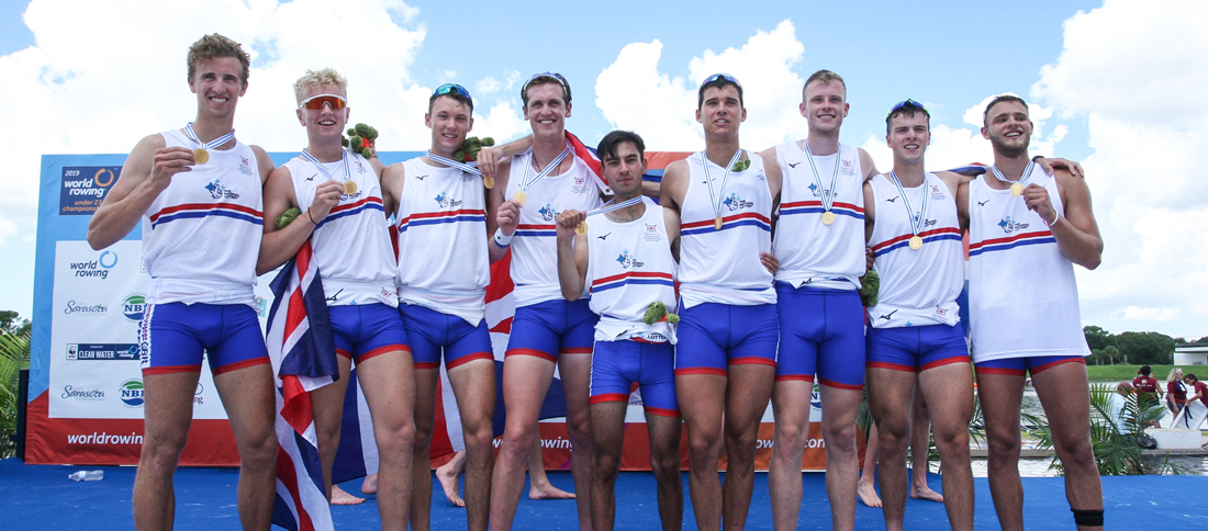 Henry Blois-Brooke (b), Harvey Kay, Callum Sullivan, Matthew Rowe, David Bewicke-Copley, Leonard Jenkins, William Stewart, Felix Drinkall (s), Vlad Saigau (c), Men's Eight, Great Britain, 2019 World Rowing Under 23 Championships, Sarasota-Bradenton, United States of America