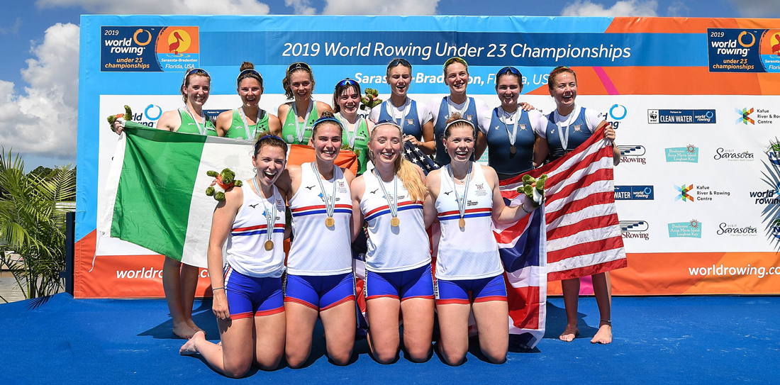 Lydia Currie, Hope Cessford, Lauren Irwin, Alex Rankin, Great Britain, win gold in the W4- at the U23 world rowing championships