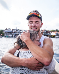 Matt Christie embraces his mother Christina after the Molesey Boat Club four won the Britannia Cup at Henley Royal Regatta