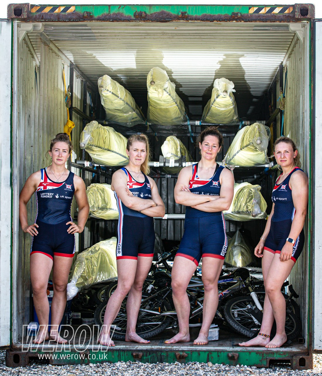 The GBR women's quadruple scull crew of Jess Leyden (Leander Club / Todmorden) Melissa Wilson (Cambridge Univ. Women's BC / Edinburgh) Mathilda Hodgkins-Byrne (Reading Univ. BC / Hereford) Charlotte Hodgkins-Byrne (University of London BC / Hereford) Coached by Jane Hall